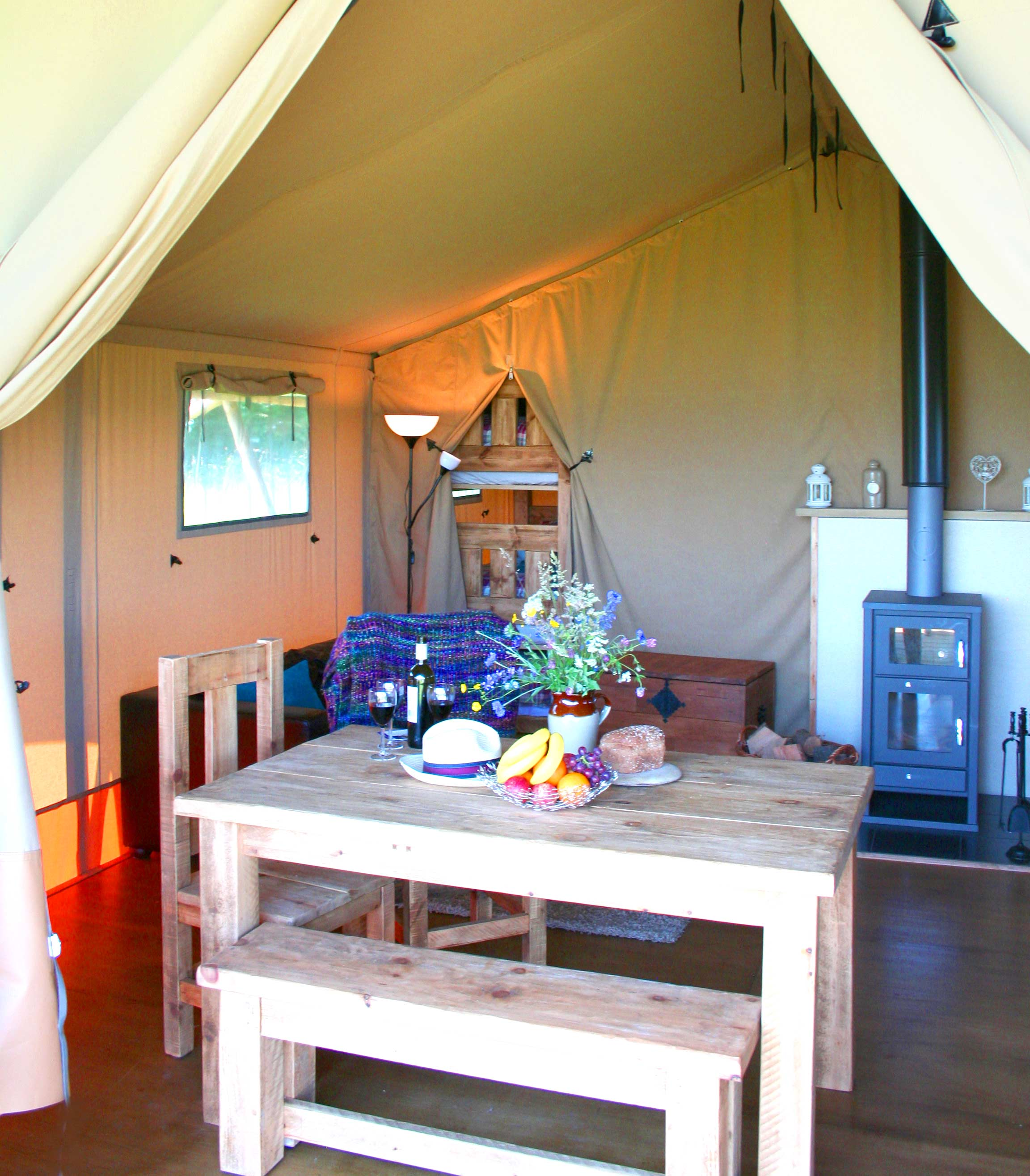 Dining area at Village Farm Getaway, holidays glamping and luxury camping in East Midlands and Leicestershire