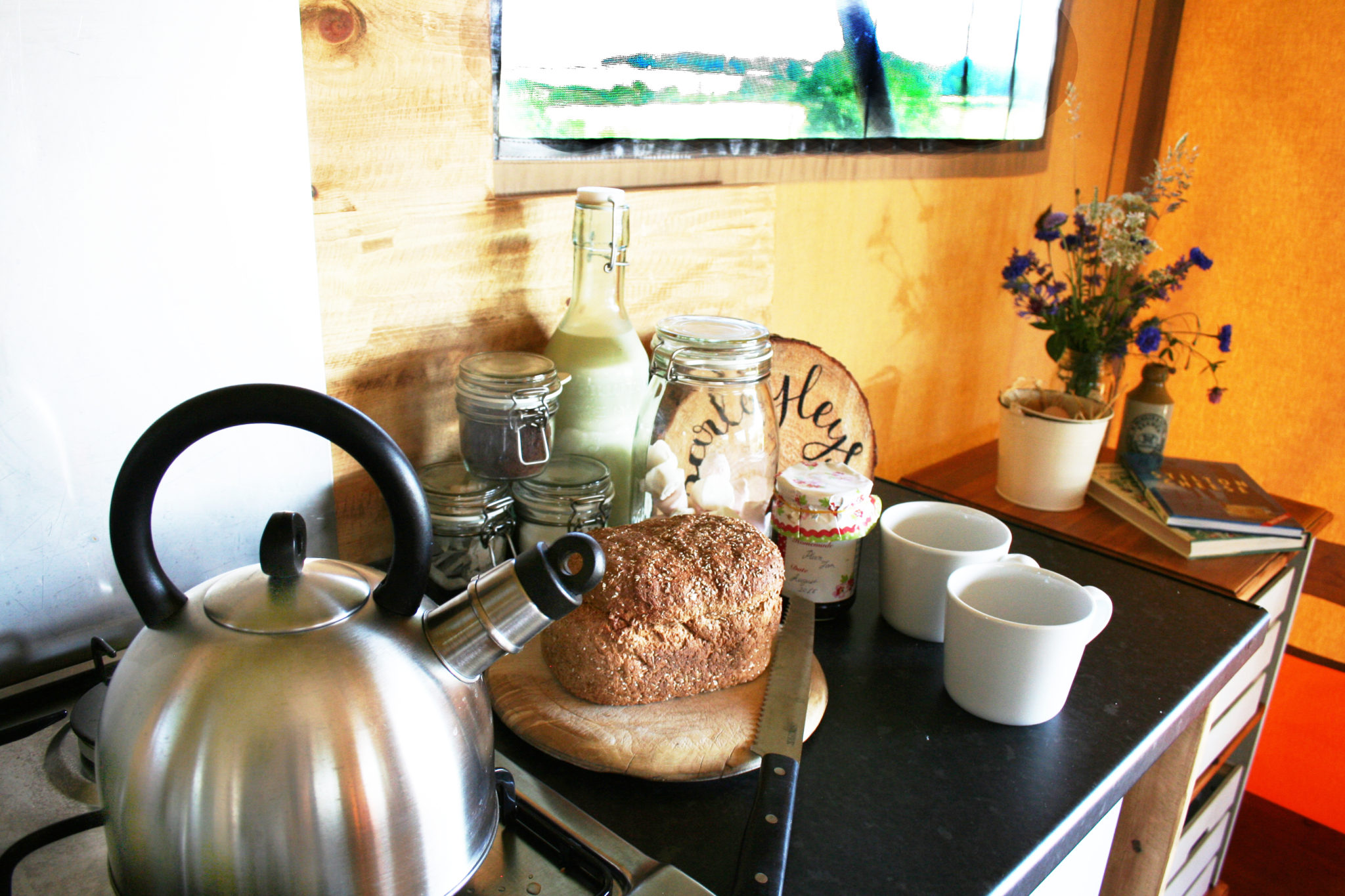 Kitchen at Village Farm Getaway, holidays glamping and luxury camping in East Midlands and Leicestershire