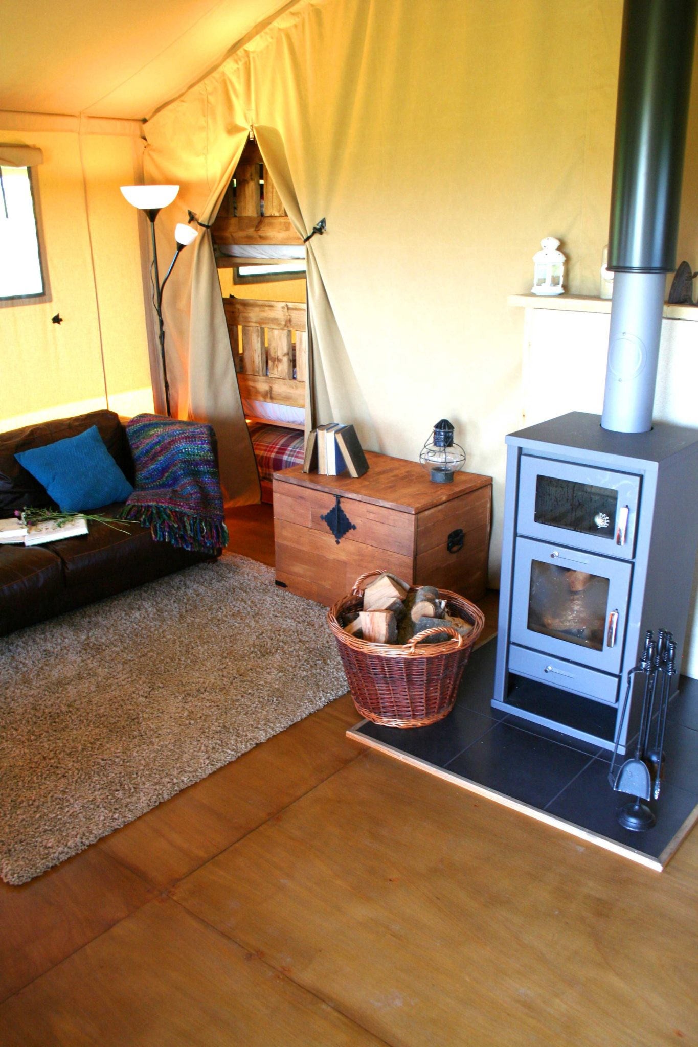 Wood burner at Village Farm Getaway, holidays glamping and luxury camping in East Midlands and Leicestershire