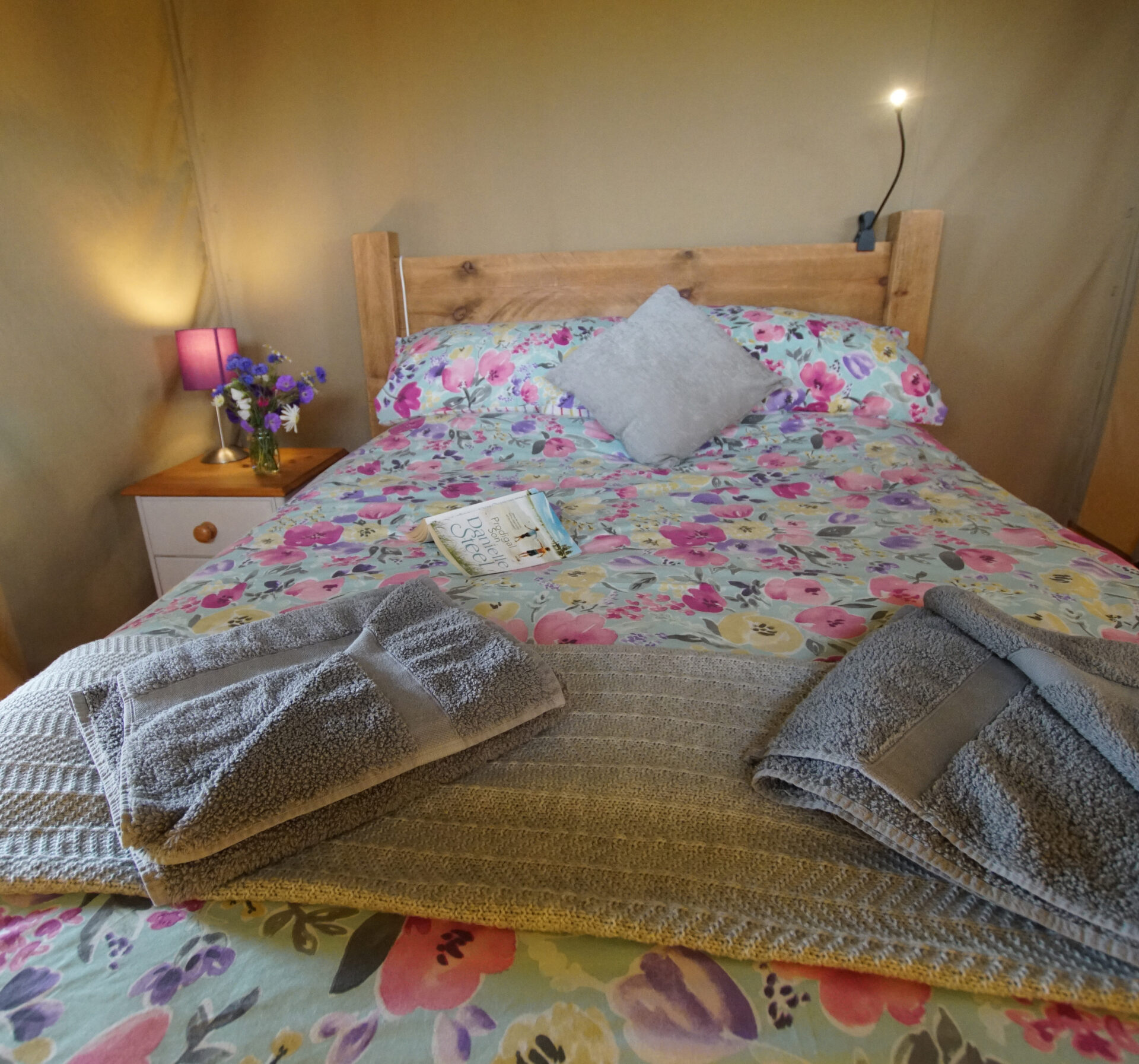 Double bed at Village Farm Getaway, holidays glamping and luxury camping in East Midlands and Leicestershire