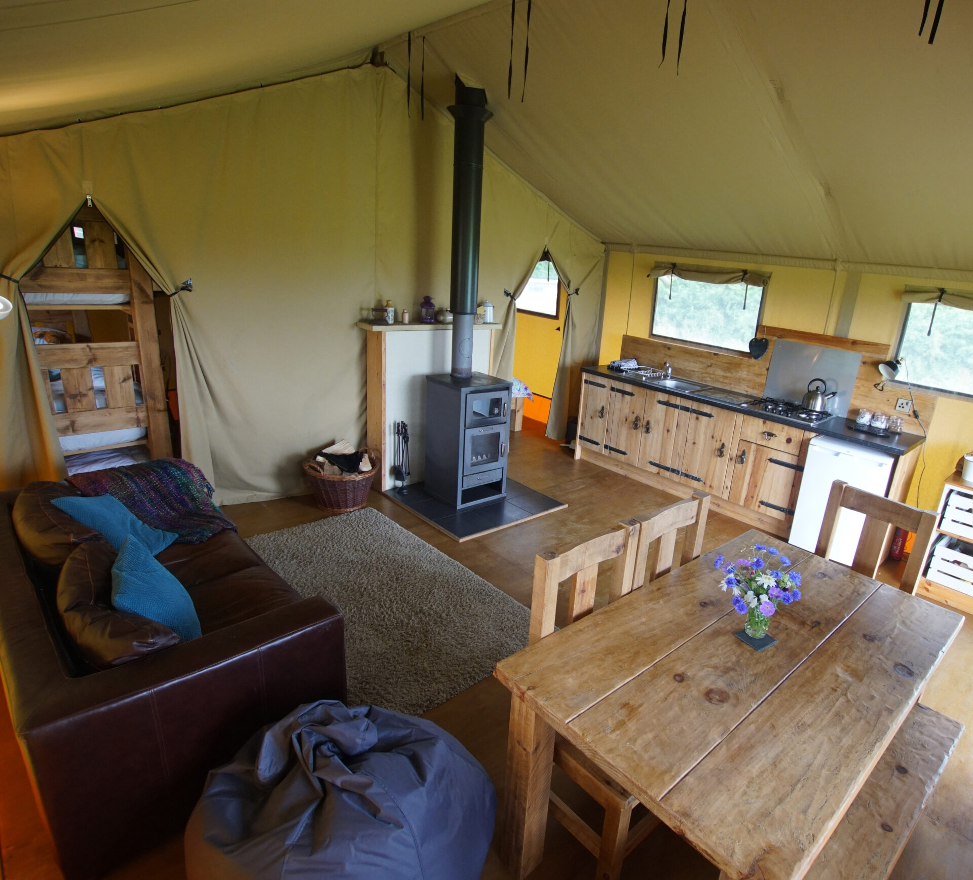 Kitchen and dining area at Village Farm Getaway, holidays glamping and luxury camping in East Midlands and Leicestershire